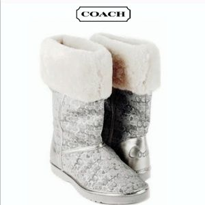 Coach Nikole Silver Boots Size 10 Gently Worn